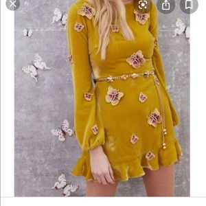 For love and lemons yellow butterfly mini dress